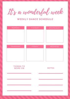 Pink Stripes Weekly Schedule Planner